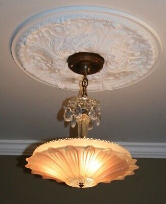 Antique pink glass sunflower art deco light fixture ceiling chandelier 1940s