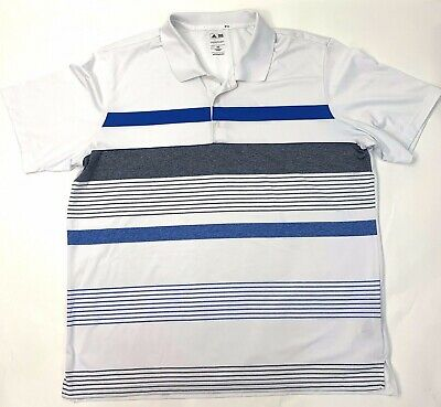 Adidas PureMotion Mens Golf Polo T-Shirt Pullover Striped White Blue Size 2XL