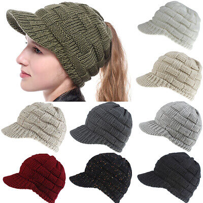 Women's Ponytail Beanie Skull Cap Winter Warm Stretch Cable Knitted High Bun Hat