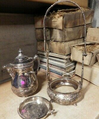 Antique Victorian ART DECO Middletown Plate co. silverplate COFFEE POT HEATER