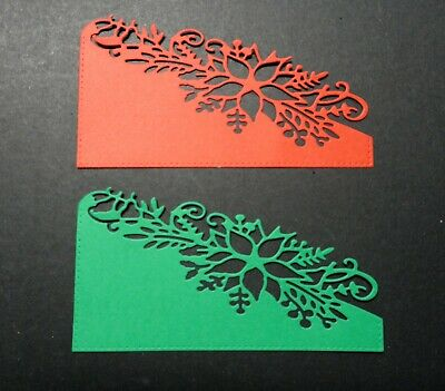 Poinsettia Christmas Card Corner Toppers - Pkt 6