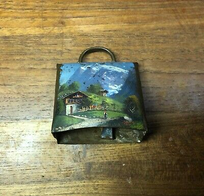 Antique Vintage Old Bronze or Brass Bell Hand Painted Farm Country Art Imagery