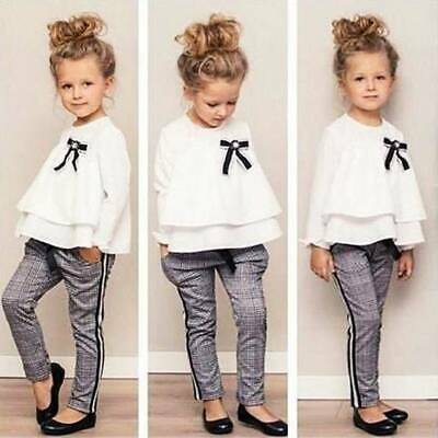Toddler Kids Baby Girl Outfits Layered Tops Checked Pants Trousers Clothes Set