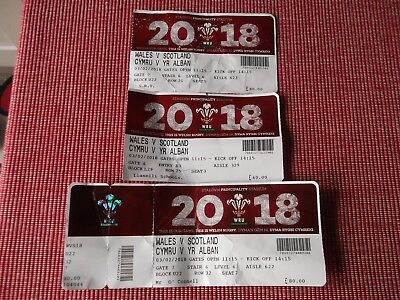 rugby union programmes,WALES V SCOTLAND 6 NATIONS,3/2/2018 3 USED TICKETS