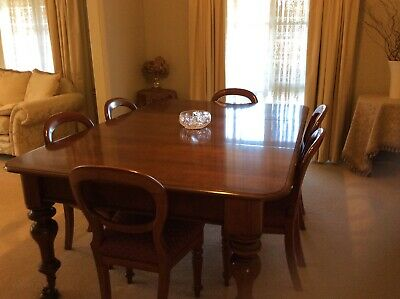 Mahogany extension dining room table & 6 Cedar balloon back chairs