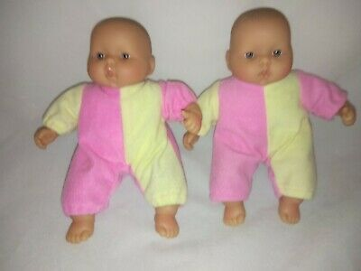 """Two 19cm/7.5"""" BERENGUER Dolls Blue Eyes Soft Bodies Exc Cond Original Outfits"""