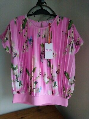 Pretty Girls Ted Baker Top. Pink With Butterflies And Flowers. Aged 10
