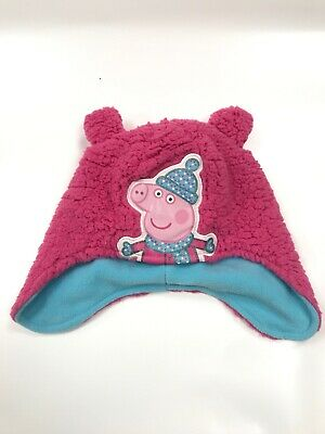 Girls Peppa Pig Fleece Winter Pink Beanie Hat With Ear Flaps (3-6 Years)