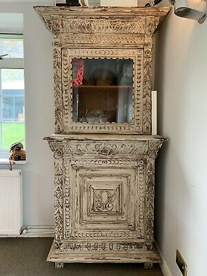 Antique French Carved Oak Painted Bookcase