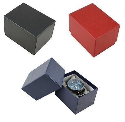 Pack of 9 Two Piece Textured Card Watch / Bangle Pillow Gift Box Jewellery Boxes
