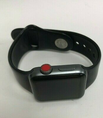 Apple Watch Series 3 38mm Space Grey Aluminium Case with Black Sport Band...