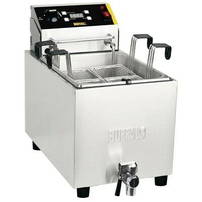 Buffalo Pasta Cooker with Timer & Front Drain Tap Made of Stainless Steel - 8L