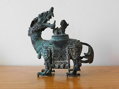 Antique Chinese Ming Dynasty Bronze Qilin Censer