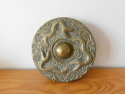 Antique Chinese Qing Dynasty Solid Bronze Temple Dragon Decorated - Gong