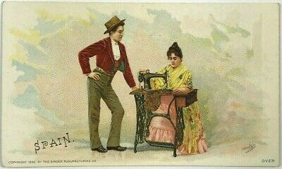 1892 Spain Seville Andalusia Couple Singer Sewing Machine Victorian Trade Card