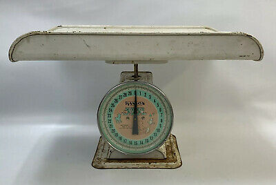Vintage 1950's Metal Hanson Nursery Baby Scale Model 3025 White Made in USA