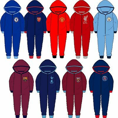 1Onesie Fleece All In One Pyjamas Boys Girls Official Football Age 3-12 Years