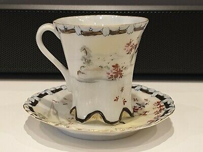 Stunning Antique Japanese Meiji Period Porcelain Cup & Saucer. Signed & Perfect