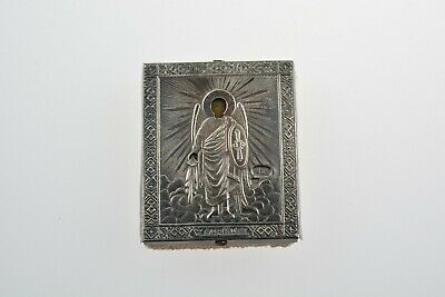 Antique 84 Silver Russian Orthodox Hand Painted Icon Archangel Michael 1880