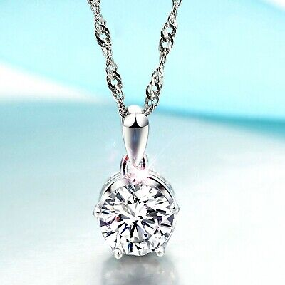 REAL SOLID SILVER 925  Classic Sterling Silver Necklace & Pendant Solitaire-042