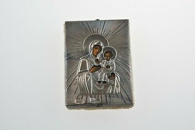 Antique 84 Silver Russian Orthodox  Icon Virgin Mary and Jesus Christ 1890