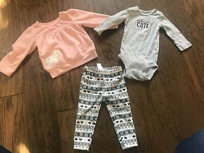 Infant Girl 3 Piece Outfit Set Size 12 Months