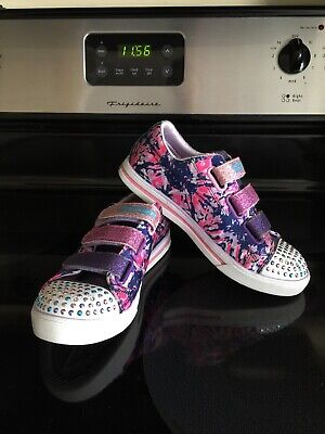 Girls Skechers Twinkle Toes Size 2 Youth Pink Purple With Glitter Straps Lights