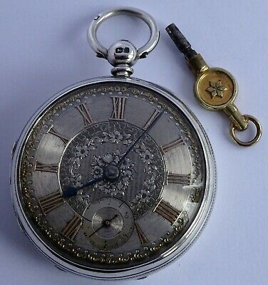 Superb Victorian solid silver fusee pocket watch silver & gold dial,1871. Works
