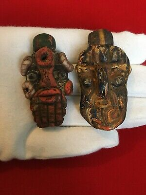 Pair Of Large PHOENICIAN Gods Face Pendants, Unusual Historical Jewellery