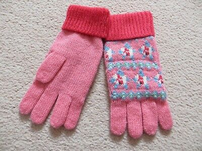 BNWOT Small Girls Cath Kidston Pink FairIsle Knit Gloves - One Size