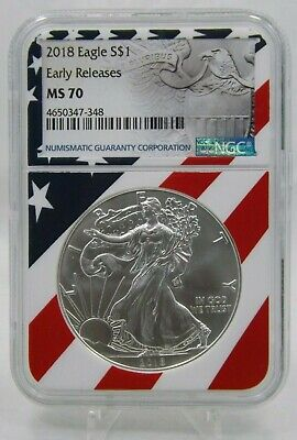 2018 American Silver Eagle EARLY RELEASES NGC MS70- AMERICAN FLAG LABEL (G366)