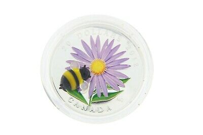 2012 Canada $20 Fine Silver Proof Coin - Aster with Murano Glass Bumble Bee RCM
