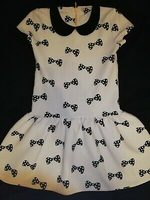 VGC girls M&S White Black Collared Gorgeous Winter Party Like Jumper Dress 11-12
