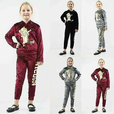 Girls Kids Velour Dab Unicorn Gold Foil Velvet Loungewear Tracksuit Soft Warm