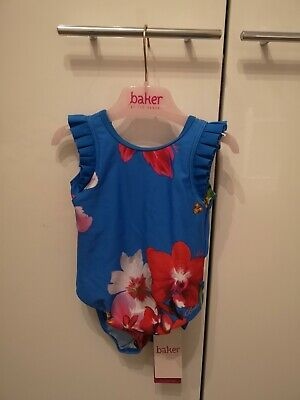 Ted Baker Girls Blue Floral Swimsuit / Swimwear. 18-24months. Designer