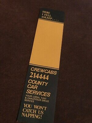 Cardboard Bookmark. Here I Fell Asleep. Crew cabs County Car Services.