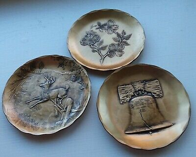 Three Handmade Solid Bronze Coasters by Wendall August Forge.