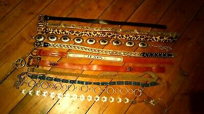11x Vintage Belts Leather Western Studded Concho Chain Beaded Boho Leopard S