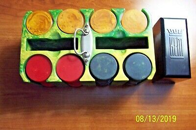 Vintage Catalin / Bakelite Poker Chip Set Caddy Holder with Chips and Cards