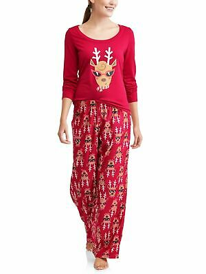 Toast & Jammies Women's Holiday Family Sleep Reindeer 2-Piece Pajama Set, Large