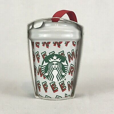 Starbucks 2019 Holiday MERRY COFFEE Mini Cup Christmas Tree Ornament New