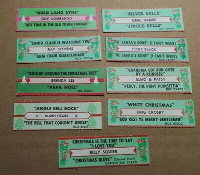 Lot of 9 Diff Christmas Vintage Jukebox Title Strips For Jukebox 45 RPM Record