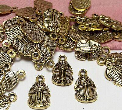 Bulk Wholesale Lot-50 Antique Gold Ancient Egyptian Charms-Pharaoh-King Tut