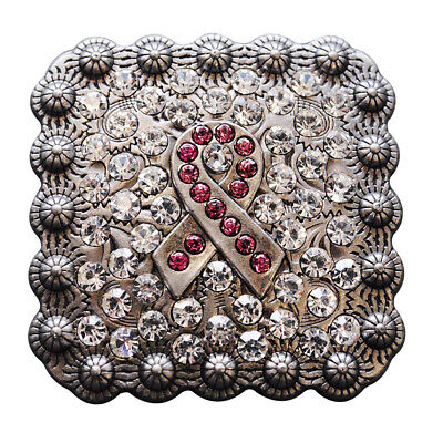 C-Ty02 Set Of 2 Crystals Breast Cancer Conchos Rhinestone Headstall Tack Bling C