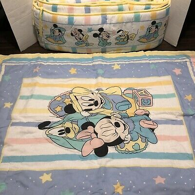 VTG Dundee Disney Babies Baby Comforter And Bumper Set Mickey Minnie Pastel