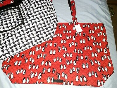 Vera Bradley--Iconic Grand Tote Reversible In Playful Penguins Red/B&W--Nwt