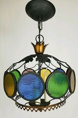 Vintage Stained Glass Hanging Ceiling Light Fixture 3 Light