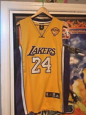 RARE Kobe Bryant 2010 NBA Finals Jersey Los Angeles Lakers Adidas 48 Yellow Gold