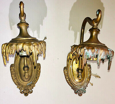 Antique Pair Wall Sconce Brass Vintage Lights fixtures Victorian Art for Parts