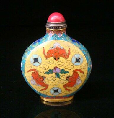 Collectibles 100% Handmade Painting Brass Cloisonne Enamel Snuff Bottles 024